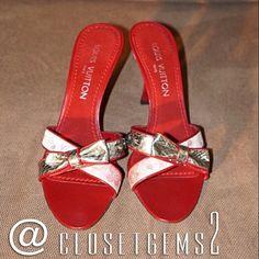 Authentic Louis Vuitton Satin Slides FOUND in @closetgems2 closet!  What beauties!! Louis Vuitton Shoes