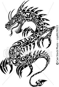 Vector - Iconic Dragon Tribal Tattoo Vector - stock illustration, royalty free illustrations, stock clip art icon, stock clipart icons, logo, line art, EPS picture, pictures, graphic, graphics, drawing, drawings, vector image, artwork, EPS vector art
