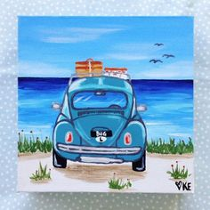 This is my original surf art an acrylic painting of a vw beetle at the beach. It is a cute retro artwork featuring a vw bug which has been on a