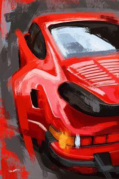Porsche 911 Red Abstract Painting Porsche Art Print Canvas | Etsy