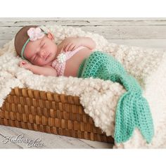 Baby mermaid photo prop- Newborn- 4 piece set-Made to order ($48) ❤ liked on Polyvore featuring babies, baby pics and mermaids