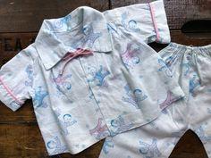 Baby Doll 2 Piece Pajama Set ~ Vintage Sleepwear ~ Handmade ~ Light Blue With Pink Trim & Baby Print by smileitsvintage on Etsy