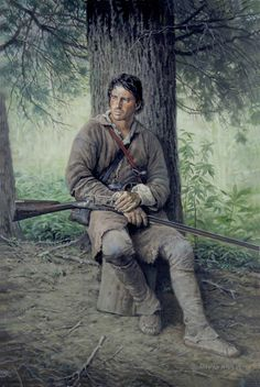 """Someone is Wondering Why He Don't Write"" by David Wright, artist of the American Frontier. American Revolutionary War, American War, Early American, Native American Art, American Women, American Indians, Mountain Man, Longhunter, Westerns"