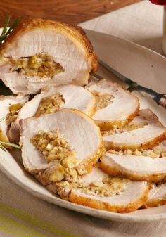 Maple-Glazed Stuffed Roast Pork – This maple-glazed stuffed roast pork loin is a dinner party success that's just too flavorful to make only for company.