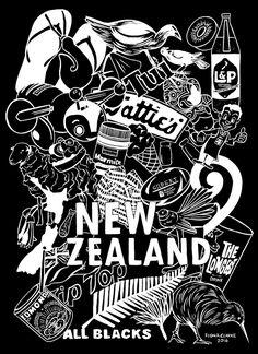 Kiwiana Doodle - Dark Art Print by Fiona Clarke - X-Small Kiwiana, All Blacks, Doodles, Cards, Maps, Playing Cards, Donut Tower, Doodle, Zentangle