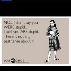 No, I didn't say you WE'RE stupid... I said, you ARE stupid. there is nothing past tense about it