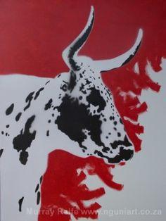 Munghana - nguni bull, Acrylic on canvas by Murray Ralfe Cow Painting, Painting Gallery, Mosaic Art, African Art, Cattle, Windy Windy, Art Ideas, Moose Art, Cross Stitch