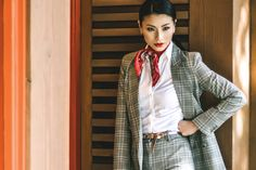 Great outfit inspiration for those #workingmom in business. #plaid #suit #womenswear