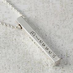Jewelry, Personalized Necklace 4 sided bar, hand stamped sterling silver, $42, http://www.etsy.com/shop/divinestampings