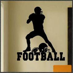 Vinyl Wall Lettering Sports Large Football Player Kids Room Decal. $18.00, via Etsy.