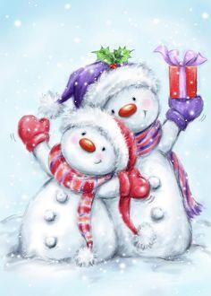 Snowman Photograph - Snowman Couple by Makiko Christmas Card Images, Christmas Graphics, Holiday Pictures, Christmas Clipart, Vintage Christmas Cards, Christmas Snowman, Christmas Time, Christmas Crafts, Christmas Decorations