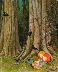 illustration : Gyo Fujikawa, Hansel et Gretel, forêt, oiseaux