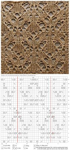 ru # jersey y crochet Lace Knitting Stitches, Lace Knitting Patterns, Knitting Charts, Lace Patterns, Knitting Designs, Stitch Patterns, Crochet Chart, Filet Crochet, Beginner Knitting Projects