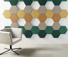 Artform, a Xorel acoustical tile line from Carnegie Fabrics; available tackable and in more than 200 colors and textures