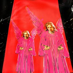 Gorgeous Thick Cotton Tea Towel Angel Themed Art in Pink Magenta on Scarlet Red Background A Lovely Addition for the Kitchen! Red Interior Design, Interior Decorating, Maximalist Interior, Pink Cushions, Red Rooms, Pink Tone, Red Interiors, Red Background, Tea Towels