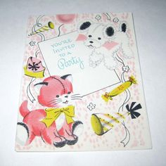 Vintage Birthday Party Invitation Card with by grandmothersattic