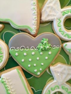 Closeup of the heart sugar cookies with royal icing. Each plate had some hearts to add a pop of color to all the white wedding theme cookies. Heart Cookies, Cute Cookies, Cupcake Cookies, Cupcakes, Sugar Cookie Royal Icing, Iced Sugar Cookies, Cookie Icing, Cookie Designs, Cookie Ideas