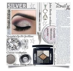 """""""Metallic makeup"""" by prudence-sarah ❤ liked on Polyvore featuring beauty, Guerlain, John Hardy, Clarins, Christian Dior, Gucci, RMK, Victoria's Secret and metallicmakeup"""