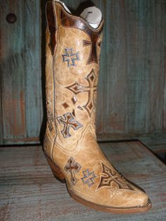 Corral Boot - Antique Saddle Brown 3 Cross Vamp Tube