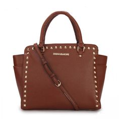 MICHAEL Michael Kors Large Selma Studded Saffiano Tote in Brown