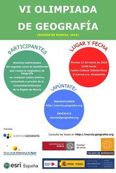 A las 9:30h empieza la VI Olimpiada Geografia de la Región de Murcia. http://www.um.es/actualidad/agenda/ficha.php?id=224021