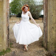vintage 50's grecian ankle length wedding dress $550