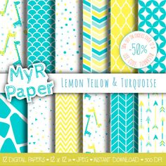 """#Giraffe digital paper: """"Lemon Yellow & Turquoise"""" giraffes pack of backgrounds with papers - perfect for Baby Shower  50% OFF ON ORDERS OVER 12 $ (OR NEARLY 12 €) USE CODE:... #patterns #design #graphic #digitalpaper #scrapbooking #background #giraffe"""