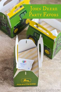 John Deere party favors for a 3 year old's birthday party.  #showusyourmess…