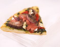 With chef-inspired special cheeses, pesto and pastrami-spiced Strip Loin Grilling Steak, pizza steps-out! Grilled Peppers And Onions, Steak Pizza, Small Pizza, Havarti Cheese, Grill Basket, Sweet Red Pepper, Spiced Beef, Grilled Steak Recipes, How To Grill Steak