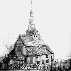 Hans Gude (1825-1903): The stave church at Gol in Hallingdal, 1846, drawing