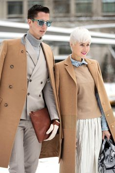 His and her camel hair coats