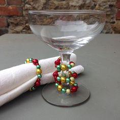 Table Jewellery, Beaded Table Decoration, Glass Stem Wrap, Beaded Glass Stem…