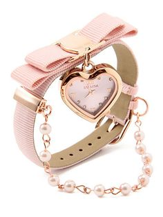 Heart watch in pink! Cute Jewelry, Jewelry Accessories, Fashion Accessories, Fashion Jewelry, Ring Armband, Trendy Watches, Stylish Watches For Girls, Pink Watch, Gold Watch