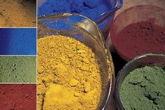 Yellow iron oxide, ultramarine blue, red iron oxide, and chromium green are common pigments available from most concrete suppliers.