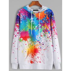 White Paint Splatter Print Drawstring Hooded Pocket Sweatshirt (460 ZAR) ❤ liked on Polyvore featuring tops, hoodies, jackets, long white top, long length tops, pocket tops, white hoodies and long tops