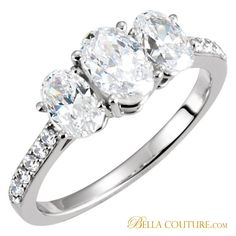 ENGAGEMENT RINGS Three Stone Engagement Rings BELLA COUTURE