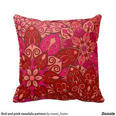 Red and pink mandala pattern pillow  #Home #decor #Room #Interior #decorating #Idea #Styles #Traditional #Boho #Indian #Vintage #floral #motif