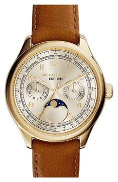 MICHAEL Michael Kors Michael Kors 'Amelia' Moon Phase Leather Strap Watch, 38mm (Nordstrom Exclusive) available at #Nordstrom