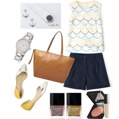 Yellow & Navy by southerncoasts on Polyvore featuring Simplychic.me, FOSSIL, Kate Spade, Jewel Exclusive and Butter London