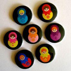 Matryoshka Russian Doll Pin Badges