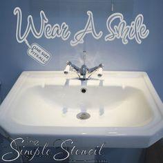 Removable bathroom decor reads: Wear a smile, one size fits all! Car Monogram, Monogram Design, Monogram Initials, Vinyl Decor, Vinyl Wall Art, Vinyl Lettering, Lettering Design, Hand Washing Poster, School Bathroom