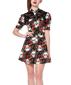 Look at this Black Skull & Web A-Line Dress on #zulily today!
