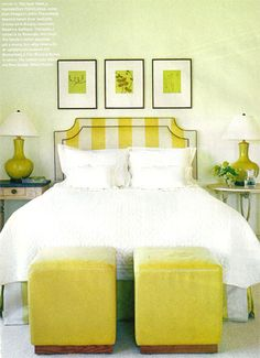 striped headboard + white duvet
