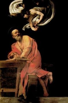 The Inspiration of St. Matthew, 1602, Church of S. Luigi de Francesi, Rome. Michelangelo Merisi of Caravaggio.