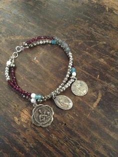 Upcycled Vintage Religiou Medals Gemstones by chrissyslove4beads