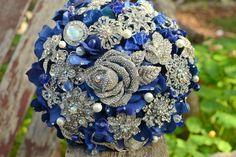 Sapphire rose jewelry bouquet by Noaki on Etsy