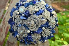 Sapphire rose jewelry bouquet by Noaki on Etsy