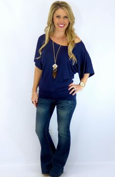 Banded Dolman: Navy from privityboutique