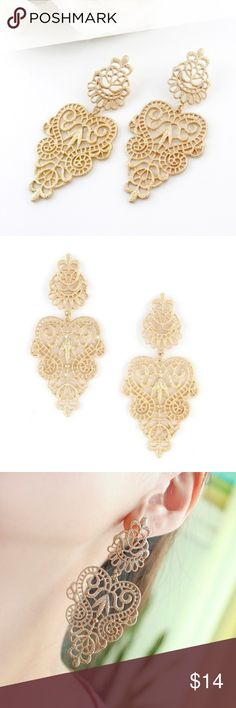 NEW Gold Lace Vintage Style Chandelier Earrings NWOT Lace Gold colored brand new chandelier vintage inspired earrings. Never been worn.  Size:8.8*4.1cm Weight:24.8g Lead and nickel free  Tags: bohemian boho festival gypsy golden pretty girly Jewelry Earrings