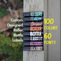 This listing is for 100% custom designed Roller Bottle Labels ******* LABELS ONLY NO ROLLER BOTTLES ARE INCLUDES******* Select the vinyl color and the quantity of labels you require in the drop down menus. OUR LABELS ARE SOLD INDIVIDUALLY. Please ensure the quantity you wish to
